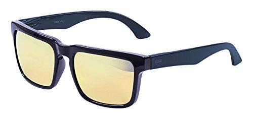 Ocean Sunglasses Bomb Gafas de Sol, Unisex, Negro (Negro Brillo/Patilla Azul Marino/Amarillo revo Iridium), Talla Única