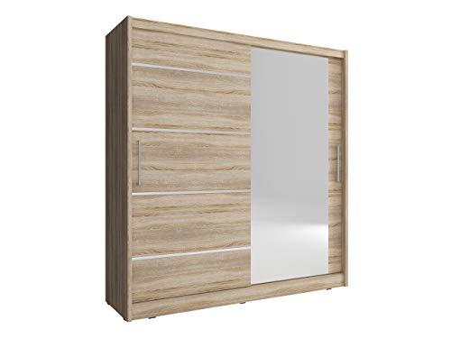Mirjan24 Kleiderschrank Fibo I Alu, Schlafzimmerschrank mit Spiegel, Farbauswahl, Elegantes Garderobenschrank, Schwebetürenschrank für Schlafzimmer,...