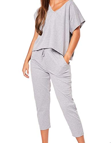 REAL leven FASHION LTD dames Baggy Losse pasvorm Top Jogger Co Ord Set Womens korte mouw trainingspak