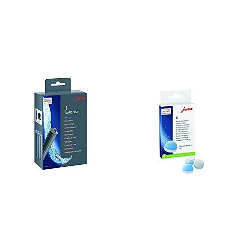 Jura 71794 Filtro de Agua, Gris, 4.5 cm, 3 Unidades + 62715 - Pastillas de limpieza para el grupo de café, embalaje puede variar