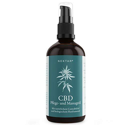 Nektar CBD Pflege- & Massageöl für Muskeln & straffere Haut, durch hohen Anteil an Pflanzenölen sowie Cannabidiol hat dieses Körperöl eine pflegende & regenerierende Wirkung - Vegan - Made in Austria