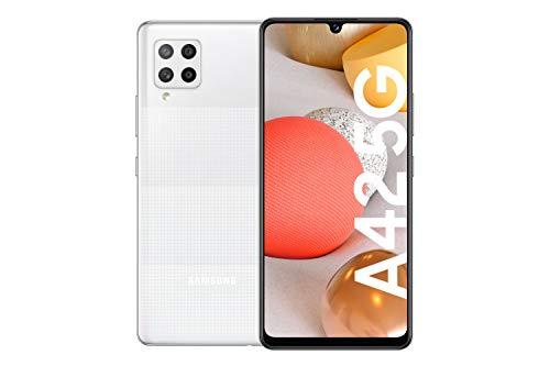 Samsung Galaxy A42 5G Android Smartphone ohne Vertrag, 4 Kameras, großer 5.000 mAh Akku, 6,6 Zoll Super AMOLED-Display, 128 GB/4 GB RAM, 5G Datenverbindung, Handy in Weiß, deutsche Version