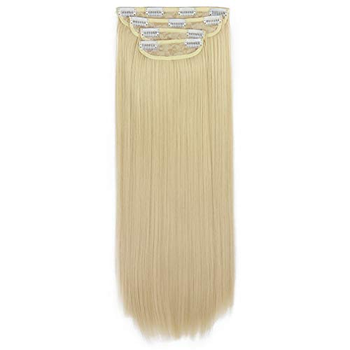 REECHO 24' Straight Long 4 PCS Set Thick Clip in on Hair Extensions Natural Blonde