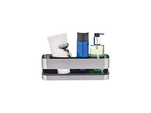 blomus -NEXIO- Duschkorb aus mattiertem Edelstahl, praktischer Kunststoffeinsatz für vereinfachte Reinigung, inkl Halterung, exklusives Badaccessoire (H / B / T: 8,5 x 25 x 8 cm, Edelstahl, 68941)