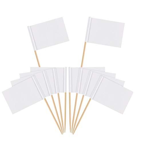 Zahnstocher Flaggen,Flaggenpicker Bambus Leere Toppers Toothpick für Party Kuchen Lebensmittel Käseplatte Vorspeisen 100 Stücke