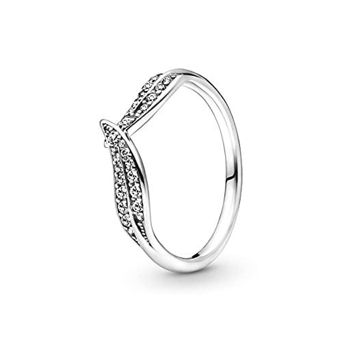 Pandora Anillo de plata para mujer con hojas brillantes 199533C01, Metal,...