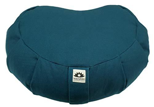 Waterglider International Zafu Crescent: Meditation Pillow with USA Buckwheat Hull Fill, Certified Organic Cotton- 6 Colors (Twilight)