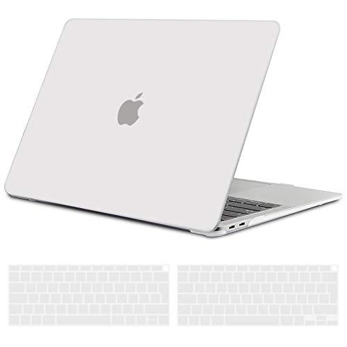 TECOOL Custodia MacBook Air 13 Pollici 2020 2019 2018 (Modello: A2337 M1/A2179/A1932), Plastica Case Cover Rigida Copertina con Copritastiera in Silicone per MacBook Air 13.3 Touch ID - Frost