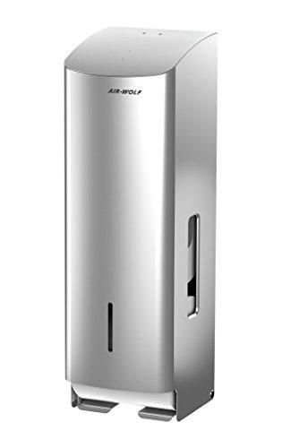 AIR-WOLF WC-Papierspender, 3 Rollen, Edelstahl gebürstet, Serie Alpha