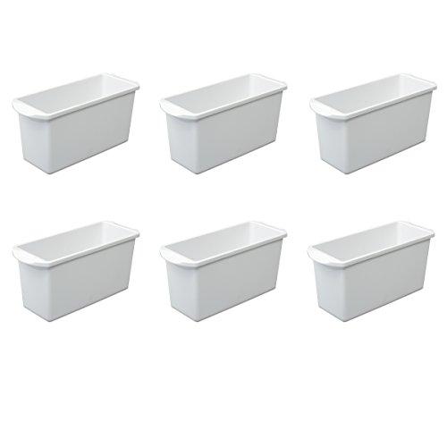Sterilite 72508006 Ice Cube Bin, White, 6-Pack