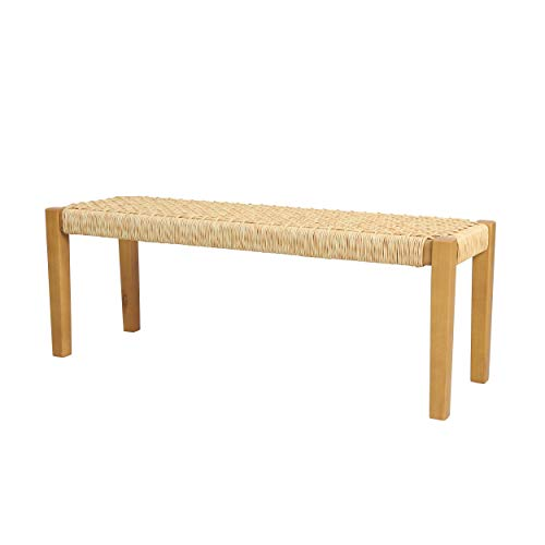 Christopher Knight Home Isaac Indoor Modern Industrial Acacia Wood Bench, Brown, Teak Finish