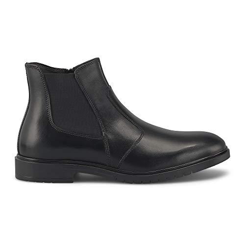 DRIEVHOLT Herren Chelsea-Boots aus Leder, lässiger Halbstiefel mit seitlichem Reißverschluss, Männer-Boots mit profilierter Laufsohle, in Schwarz Schwarz Glattleder 40