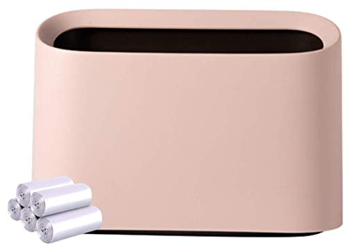 Original Mini Trash Can, Small Waste Garbage Basket Bin for Desk Office Kitchen, Makeup Holder for Bedroom Bathroom, 100 Plastic Bags (Pink-Value)