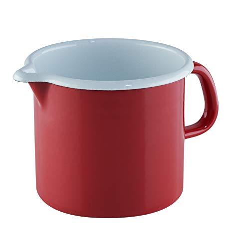 RIESS 0040-020 Schnabeltopf, Durchmesser 12 cm, Höhe 11,5cm, Inhalt 1 Liter, Classic, CERAMIC GLAS RED, Emaille, Rot, Weiß
