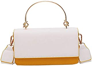 SODIAL Contrast Color Crossbody Bag with Metal Handle Female Handbag Ladies Pu Leather Shoulder Bag Yellow