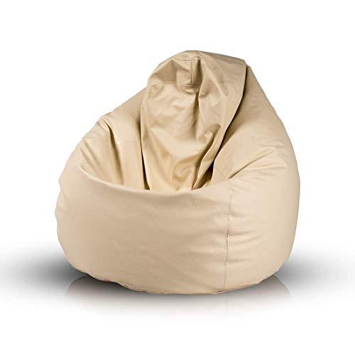 Bepouf Poltrona Sacco Puf Pouf Dimensioni 110x70 Ecopelle Pieno (Beige, Media)