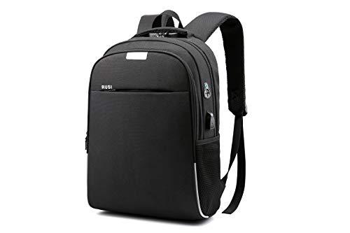RUSI Zaino Antifurto con Porta USB, Zaino PC Portatile Traspirante, Zaino Uomo Tech per Laptop 15,6', Zaino per Scuola, Lavoro (Nero)