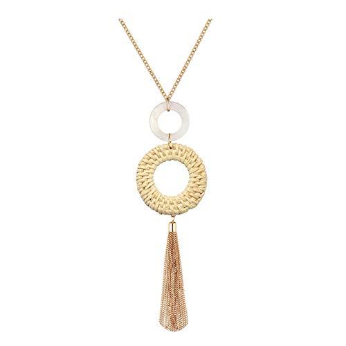 Long Necklace Handmade Straw Wicker Braid Statement Necklaces Shell Pendant Necklace Y Necklace for Women (Beige)
