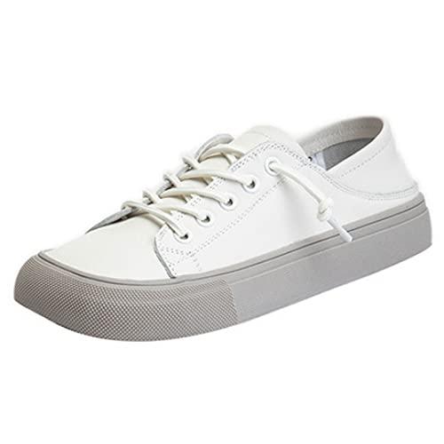 Zapatillas De Cuero para Mujer Zapatos para Caminar PU Blancos Cordones Zapatos Casuales con Punta Cuadrada Zapatillas Clásicas para Estudiantes Suela Goma Cómoda,Gris,36