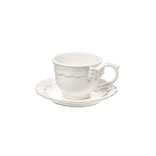 L'ARTE DI NACCHI Taza de café con platillo de cerámica blanca 250 ml KF-30
