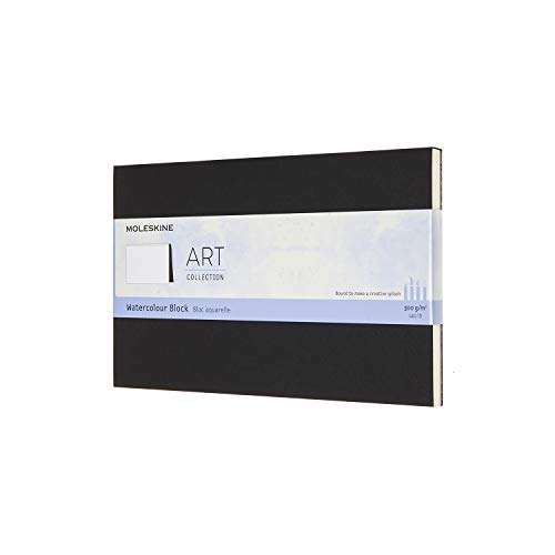 Moleskine Art Watercolor Block, Hard Cover, Large (5' x 8.25') Plain/Blank, Black, 20 Pages