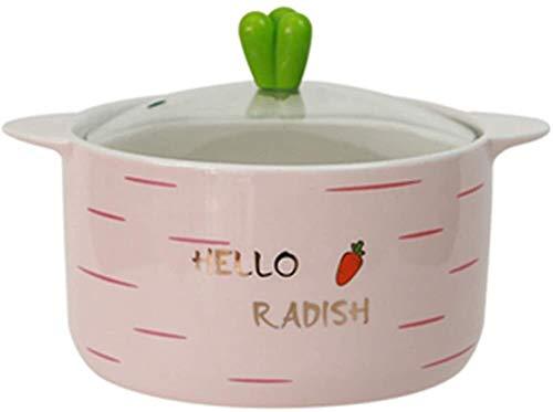 Porcelana Premium Plato De Arroz Sopa Tazón Grande De Estilo Japonés Con La Tapa Del Oído Tazón De Cerámica Estudiante Dormitorio Del Hogar Del Cuenco De Arroz Instantáneo Lindo Regalo Noodle Bowl for