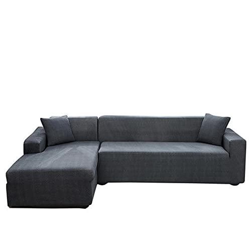 FENFANGAN Fundas para Sofa Chaise Longue de 2 Piezas, para la Funda de sofá de la Esquina de la Sala de Estar, Tela de poliéster elástica, Hermosa decoración de sofá (Gray Blue,3 Seater + 3 Seater)