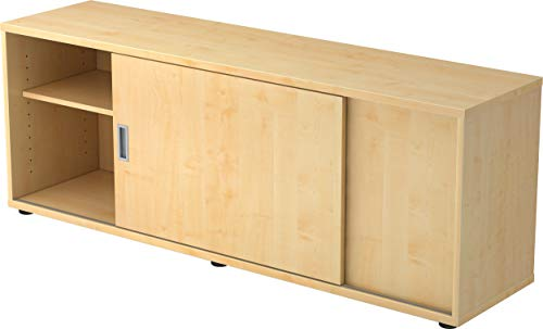 bümö® Sideboard mit Schiebetür   Büro Schiebetürenschrank   Für Aktenordner & Stauraum für Material   Büromöbel   in 12 Farben (Ahorn)