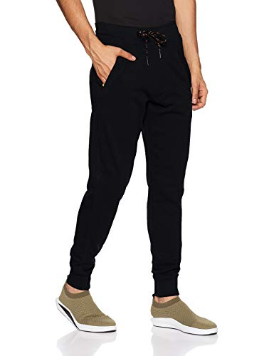 Van Heusen Athleisure Men's Cotton Track Pants (50044_BLACK_Medium)