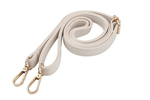 Purse Strap Replacement PU Leather Adjustable Replacement Strap Crossbody Shoulder Bag Purse, 27-48 Inch (White)