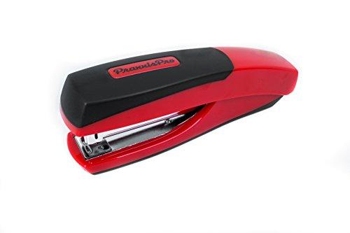 Ergonomic Full Strip Desktop Stapler, PraxxisPro Ionic Grip Office Stapler (Red)