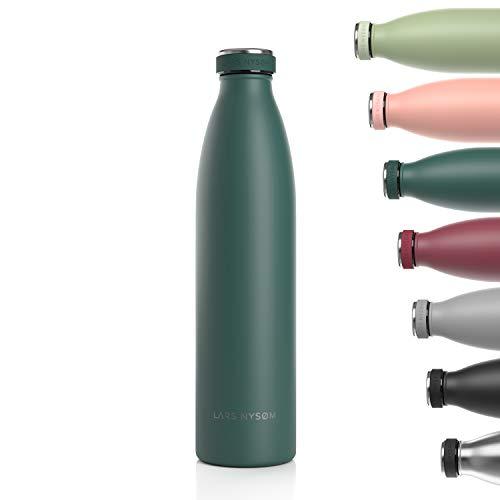 LARS NYSØM Trinkflasche Edelstahl 1000ml | BPA-freie Isolierflasche 1 Liter | Auslaufsichere Wasserflasche für Sport, Fahrrad, Hund, Baby, Kinder