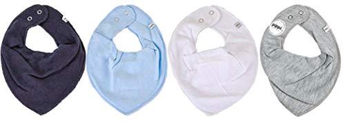 Pippi Lot de 4 bavoirs triangulaires pour bébé (Mix4 Boy)