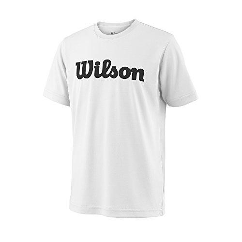 Wilson, Y Team Script Tech Tee, Camiseta deportiva manga corta unisex para niños, Poliéster, Blanco/Negro, Talla: S, WRA770701