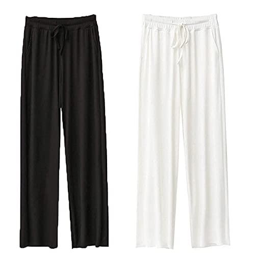 Pantaloni Larghi in Seta Ghiacciata Pantaloni da Donna Pantaloni Larghi Estivi da Donna Elasticizzati , Pantaloni Lunghi Dritti Estivi A Vita Alta Morbidi