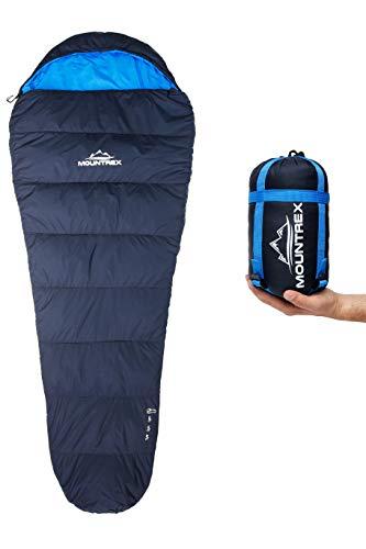 MOUNTREX® Schlafsack - Kleines Packmaß & Ultraleicht (750g) - Outdoor Sommer Schlafsack, Mumienschlafsack (205x80cm) - Kompakt, Warm und Leicht für Camping, Reise oder Festival - Koppelbar (Links)