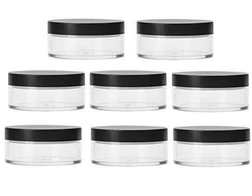 Bekith 8 Pack 50G Plastic Empty Powder Puff Case 50ml Makeup Case Travel Kit Makeup Cosmetic Jars Containers With Sifter and Lids