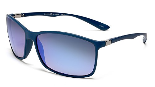 Samba Shades Classic Sport For Biking, Driving, Golf Bolle Sunglasses with Unbreakable Blue Rubber Frame, UV400 Blue Mirror Lens