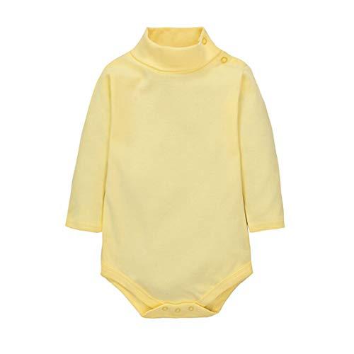 CuteOn Bebes Chicos Chicas Turtleneck Algodón Body Mono - Amarillo claro 18 Meses