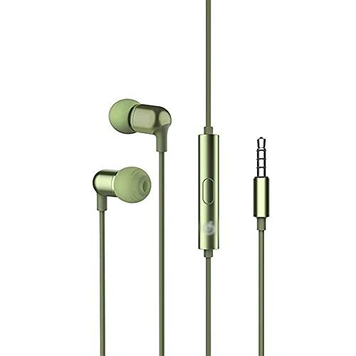 Auriculares Auriculares Auriculares en la Oreja con micrófono y Control de Volumen adecuados para teléfonos con Auriculares con Cable de 3,5 mm Omputteras tabletas de Juego (Color : Army Green)