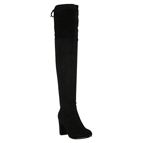 Damen Stiefel Overknees Leicht Gefütterte Langschaftstiefel Schuhe 150349 Schwarz Schleifen 37 Flandell