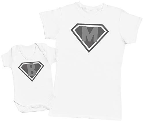 Zarlivia Clothing Super Heroes Baby - Ensemble Mère Bébé Cadeau - Femme T Shirt & bébé Bodys - Blanc - L & 0-3 Mois