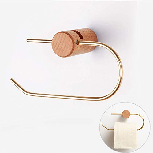 Chanwei Paper Towel Holder, Self Adhesive Toilet Paper Holder, Fluted Beech Wood U-Shaped Tissue Holder, Elegant and Practical Tissue Holder for Bathroom & Kitchen Brushed Brass
