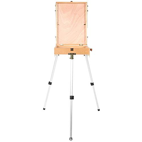 Staffelsezel staan, draagbare vouwen hout tekening schetsen doos met aluminium poten kunstenaar schilder outdoor schilderij statief in hoogte verstelbaar lichte olieverfschilderij box (met pallet)