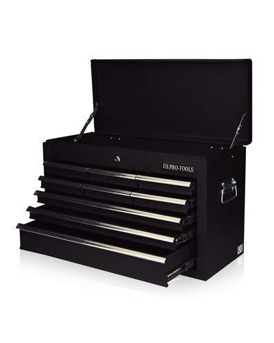 US Pro Tools Tragbarer Werkzeugkoffer mit 6 Schubladen, glänzend Schwarz, Schubladen mit Kugellager