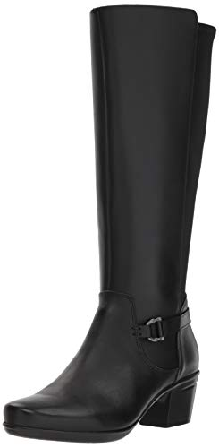 CLARKS Women's Emslie March Fashion Boot, Black Leather, 090 M US