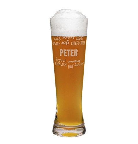 printplanet® Weizenglas mit Namen Peter graviert - Leonardo® Weißbierglas mit Gravur - Design Positive Eigenschaften