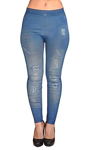 Damesleggings - jeans effect - gescheurd - legging - één maat - strak - stretch - cadeau-idee