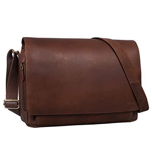 STILORD 'Tom' Vintage Leder Umhängetasche für Studium Uni Büro Arbeit 15 Zoll Laptoptasche DIN A4 Schultertasche Messenger Bag Echtleder, Farbe:Havanna - braun