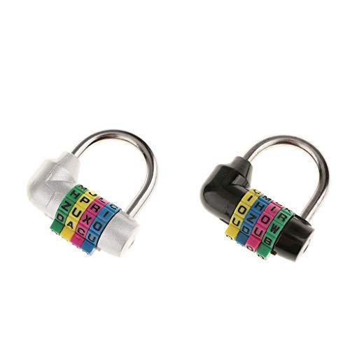 IPOTCH Candado con 2 Maletas [combinación de 4 Dígitos] Candado con Letras Plateado Y Negro para Maletas de Viaje